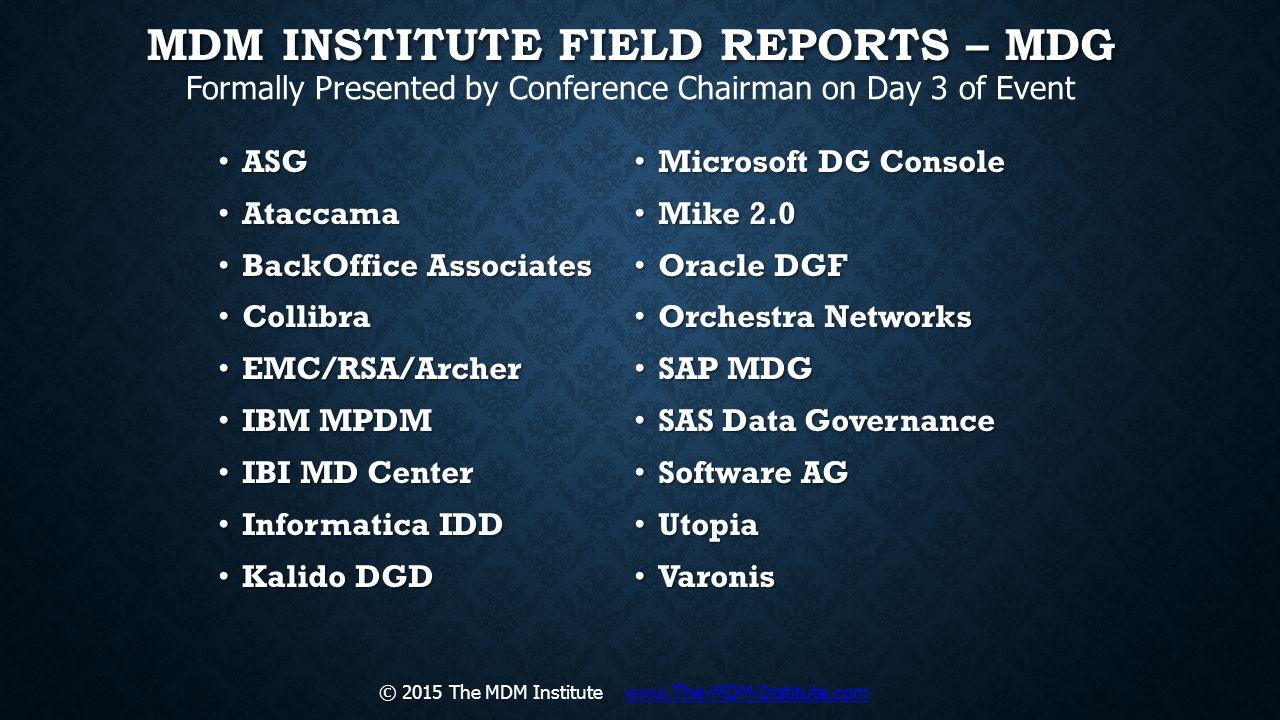 MDM Institute Field Reports – MDG