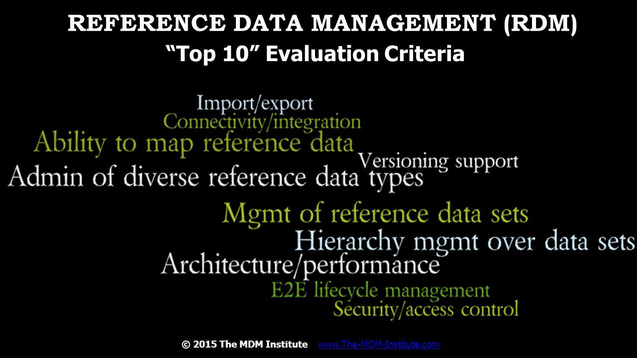 Reference Data Management (RDM)