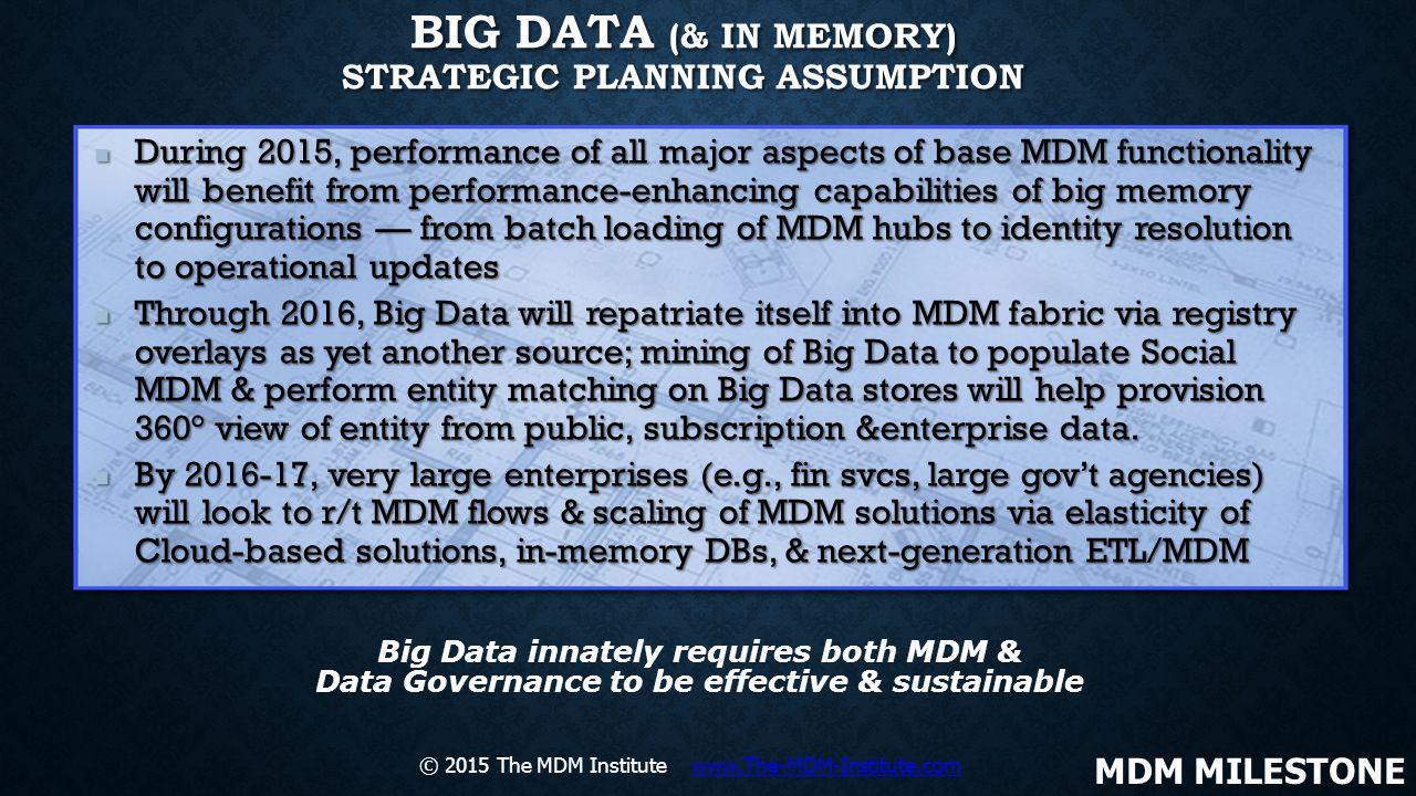 Big Data (& In Memory) Strategic Planning Assumption