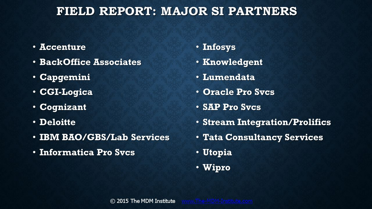 Field Report: Major SI PArtners