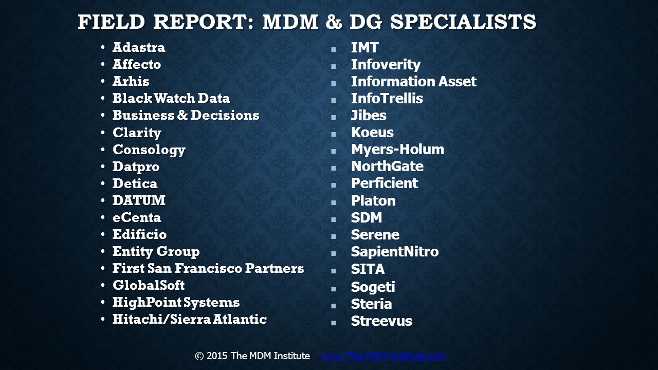 Field Report: MDM & DG Specialists