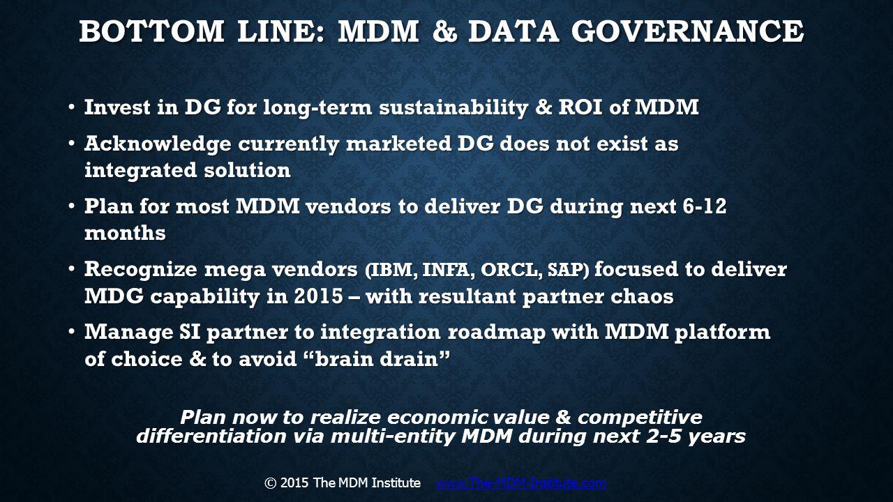 Bottom Line: MDM & Data Governance
