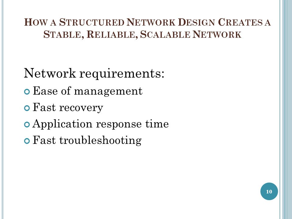 Network requirements: