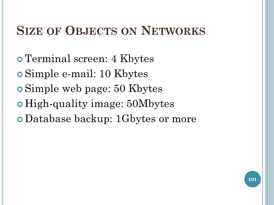 Size of Objects on Networks