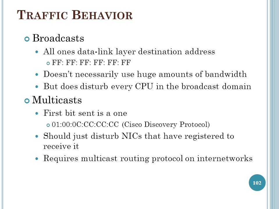 Traffic Behavior Broadcasts Multicasts