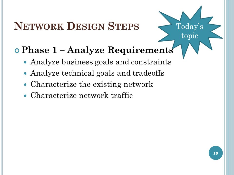 Network Design Steps Phase 1 – Analyze Requirements Today's topic