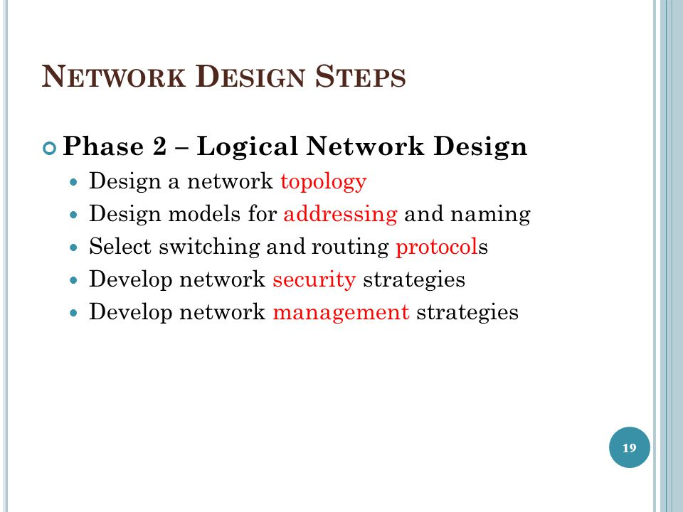Network Design Steps Phase 2 – Logical Network Design