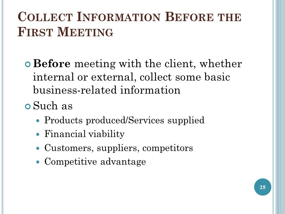 Collect Information Before the First Meeting