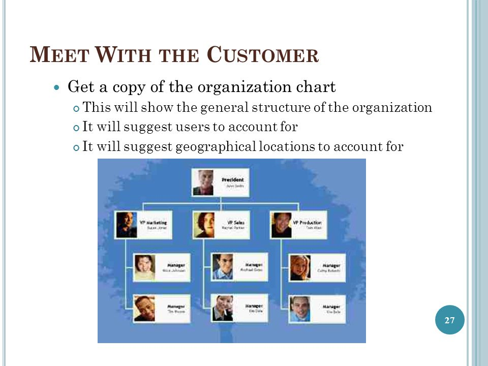 Meet With the Customer Get a copy of the organization chart