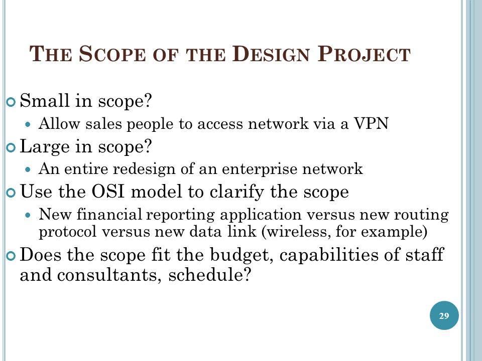 The Scope of the Design Project
