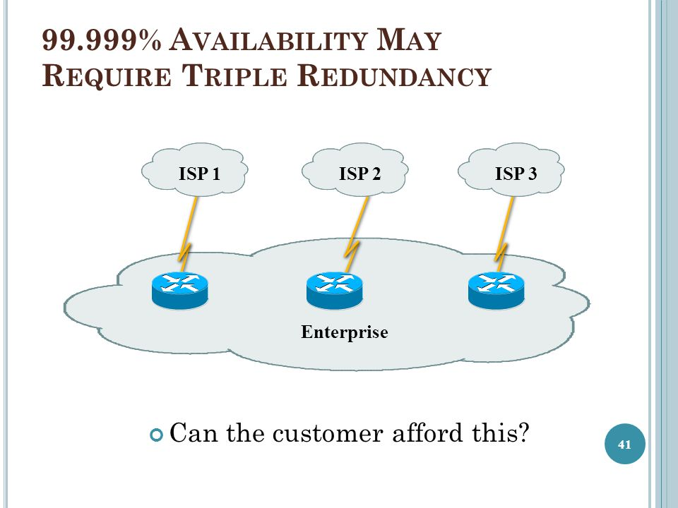 99.999% Availability May Require Triple Redundancy