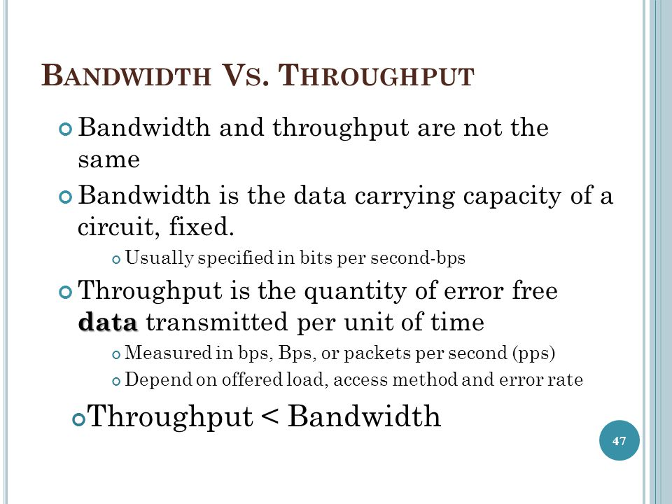 Bandwidth Vs. Throughput