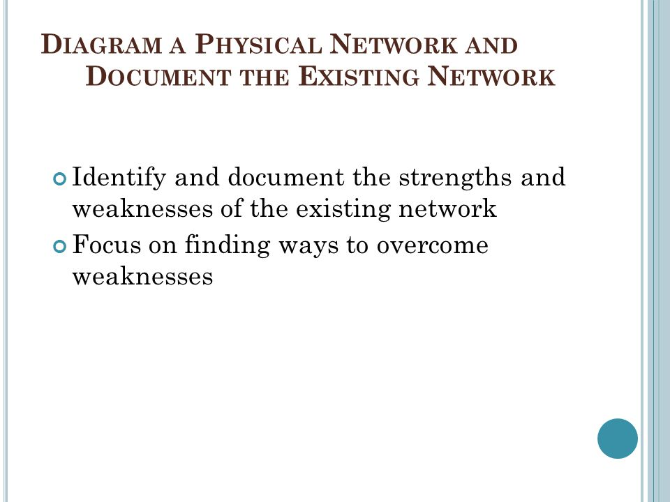 Diagram a Physical Network and Document the Existing Network