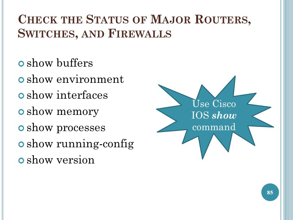 Check the Status of Major Routers, Switches, and Firewalls