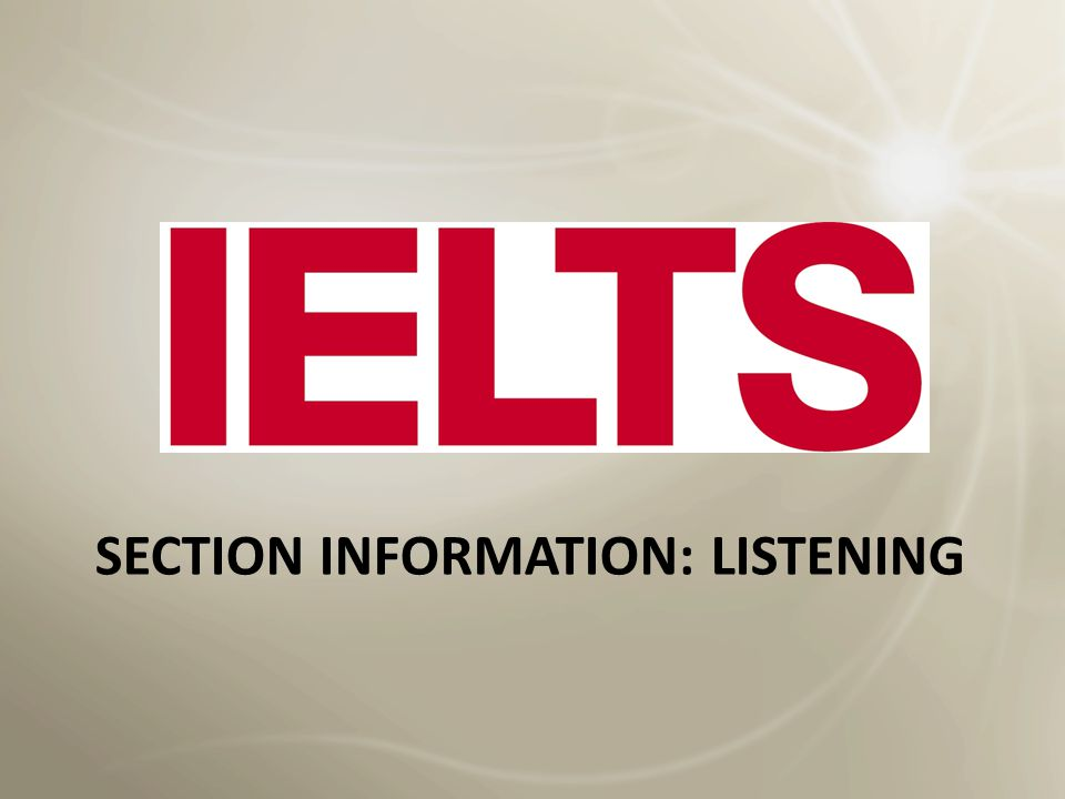 Section information: Listening