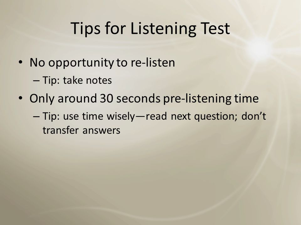 Tips for Listening Test
