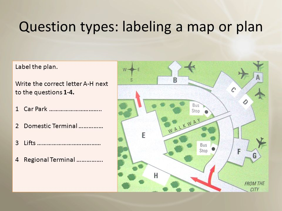 Question types: labeling a map or plan