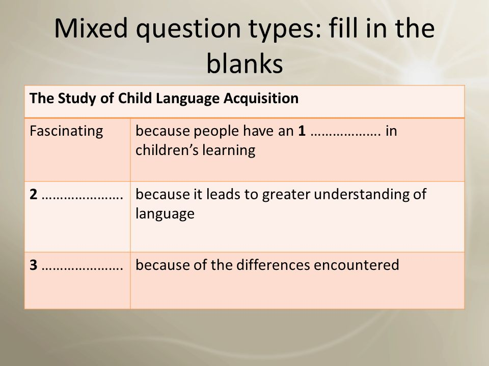 Mixed question types: fill in the blanks