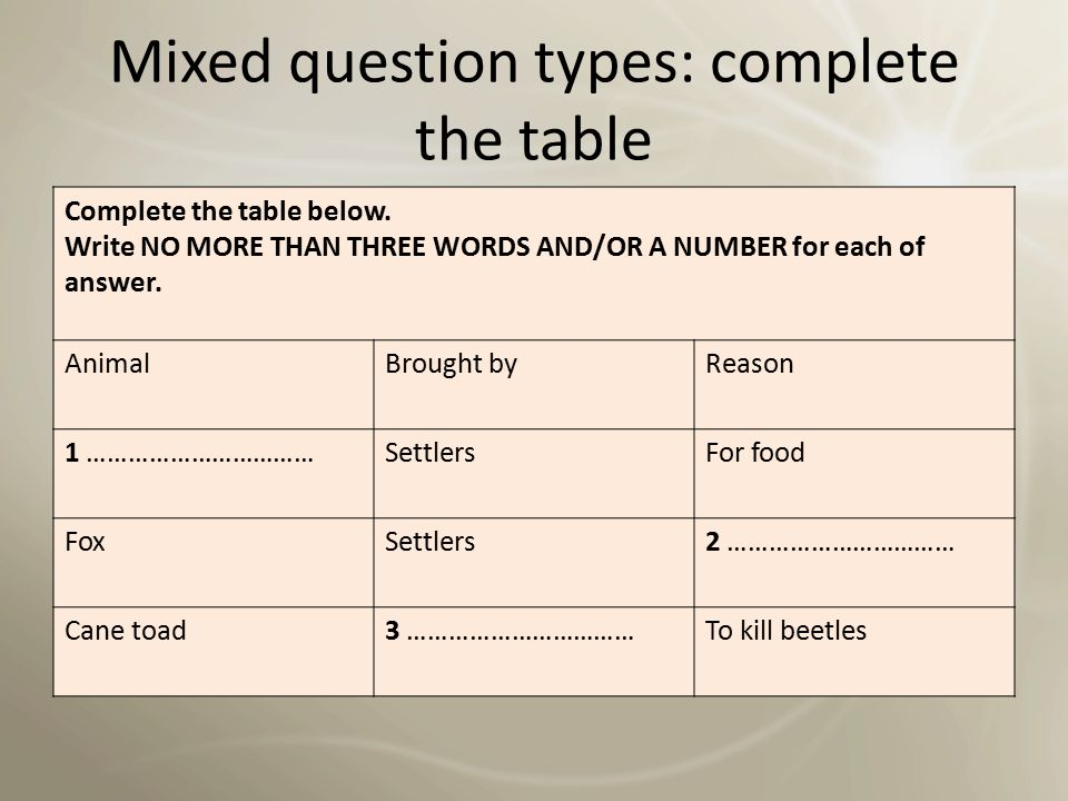 Mixed question types: complete the table