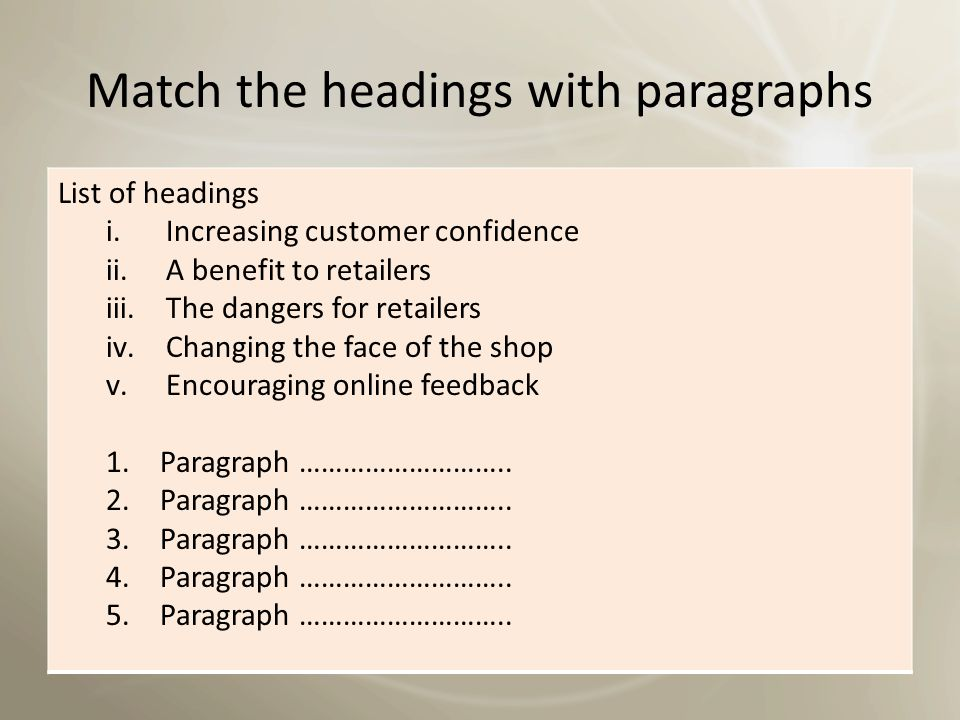 Match the headings with paragraphs