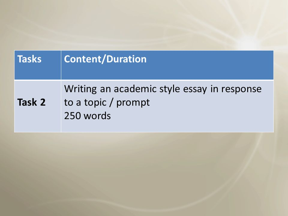 Tasks Content/Duration. Task 2. Writing an academic style essay in response to a topic / prompt.