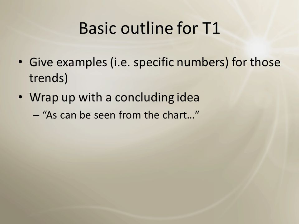 Basic outline for T1 Give examples (i.e. specific numbers) for those trends) Wrap up with a concluding idea.