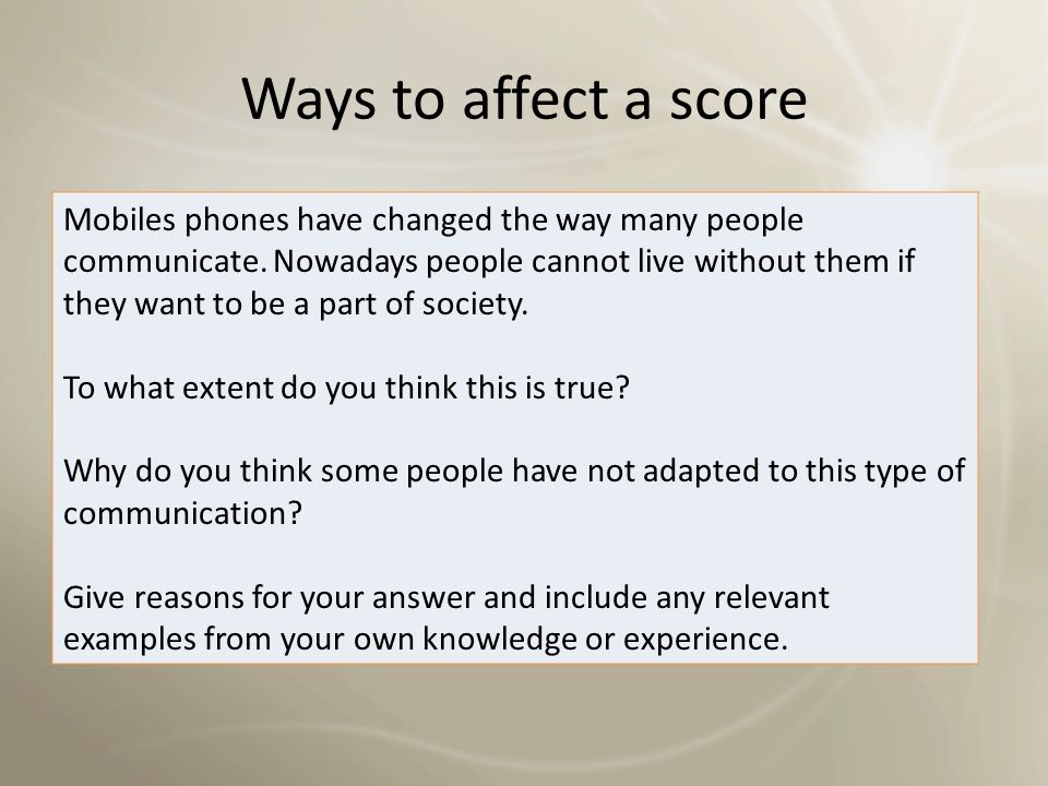 Ways to affect a score