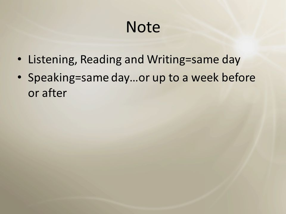 Note Listening, Reading and Writing=same day