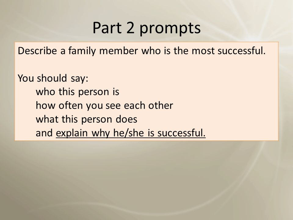 Part 2 prompts Describe a family member who is the most successful.