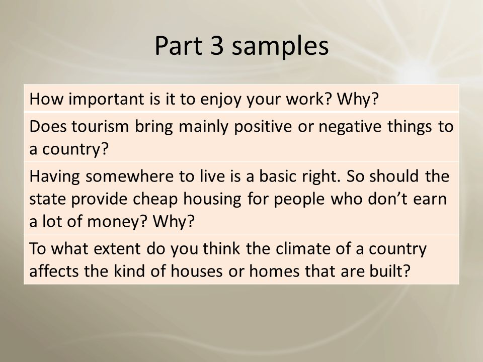 Part 3 samples How important is it to enjoy your work Why