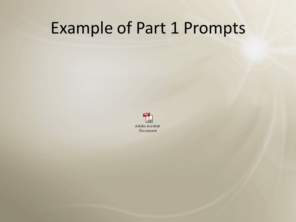 Example of Part 1 Prompts