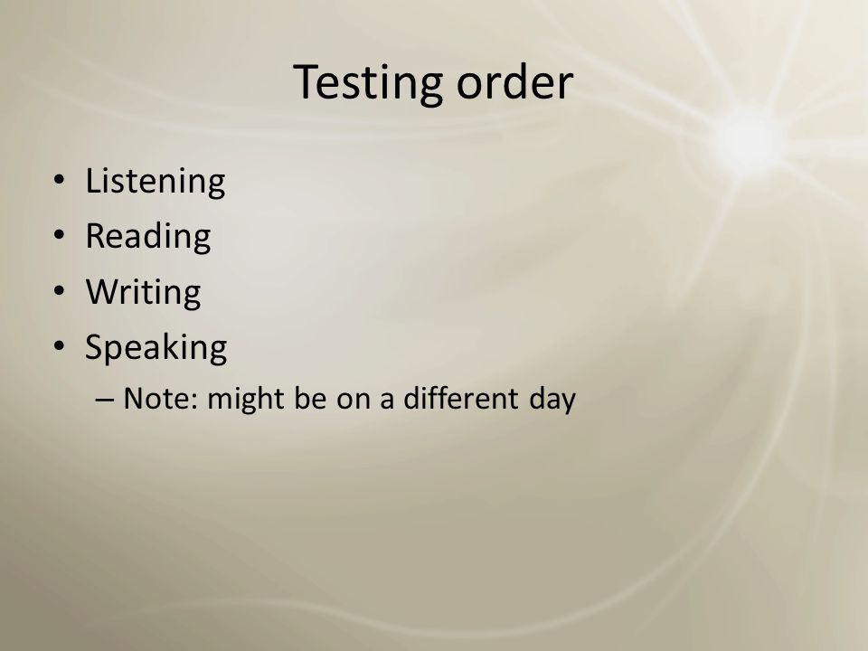 Testing order Listening Reading Writing Speaking
