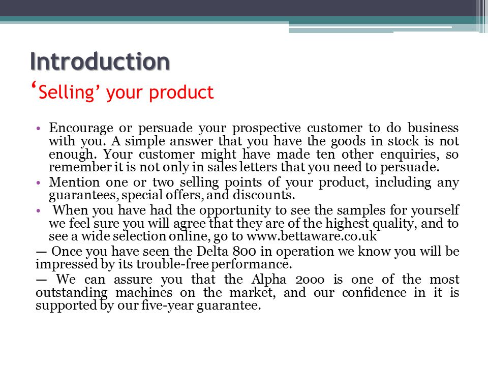 Introduction 'Selling' your product