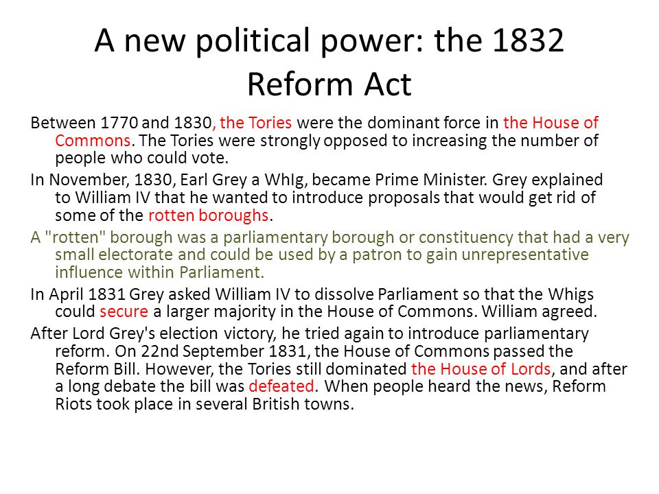 A new political power: the 1832 Reform Act