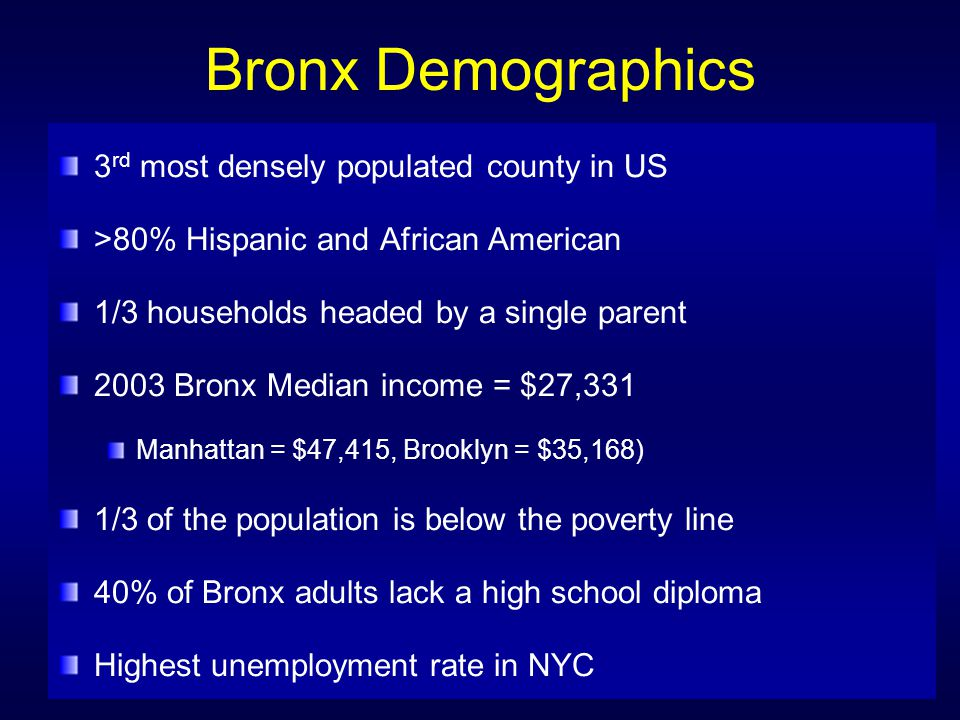 Bronx Demographics 3rd most densely populated county in US