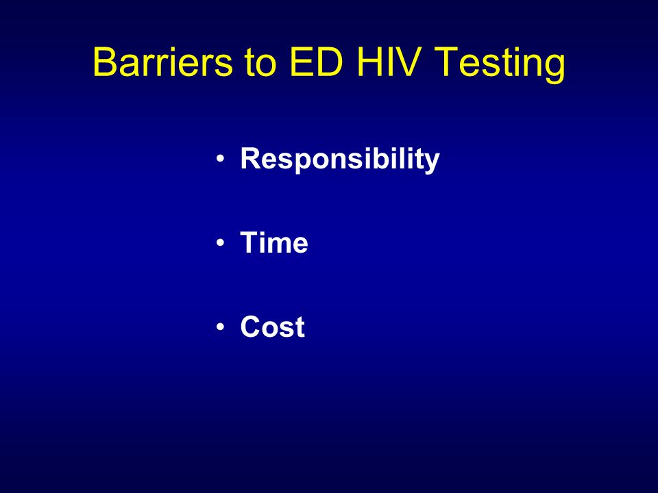 Barriers to ED HIV Testing