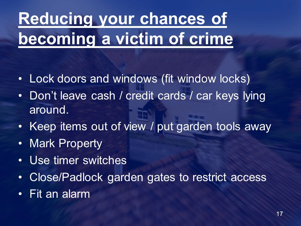 Reducing your chances of becoming a victim of crime