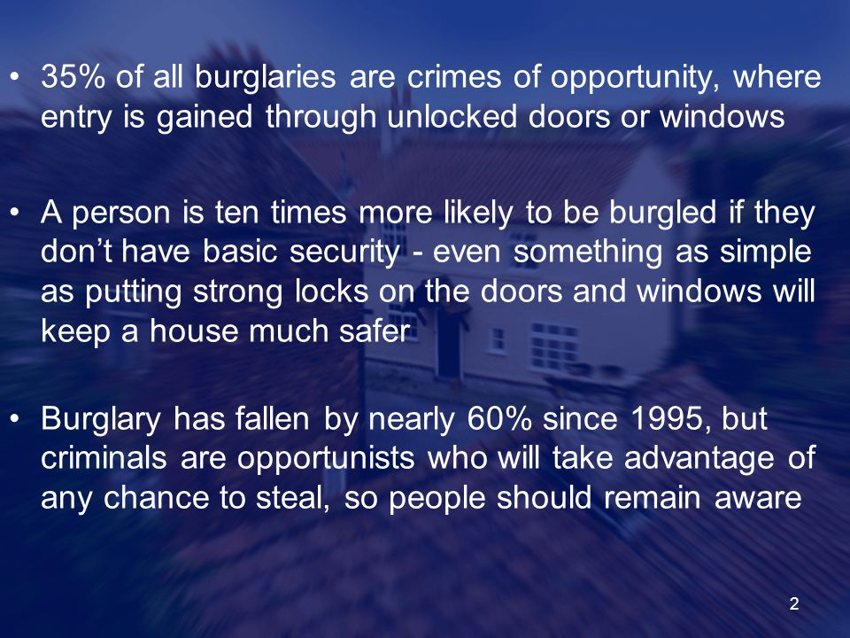 35% of all burglaries are crimes of opportunity, where entry is gained through unlocked doors or windows
