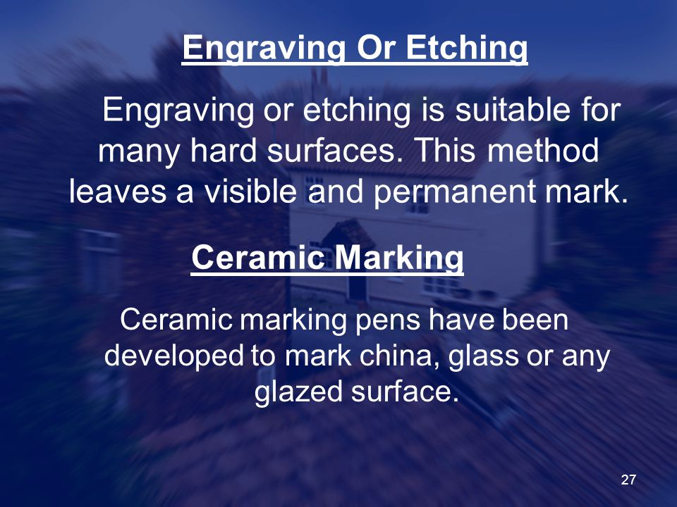 Engraving Or Etching Ceramic Marking