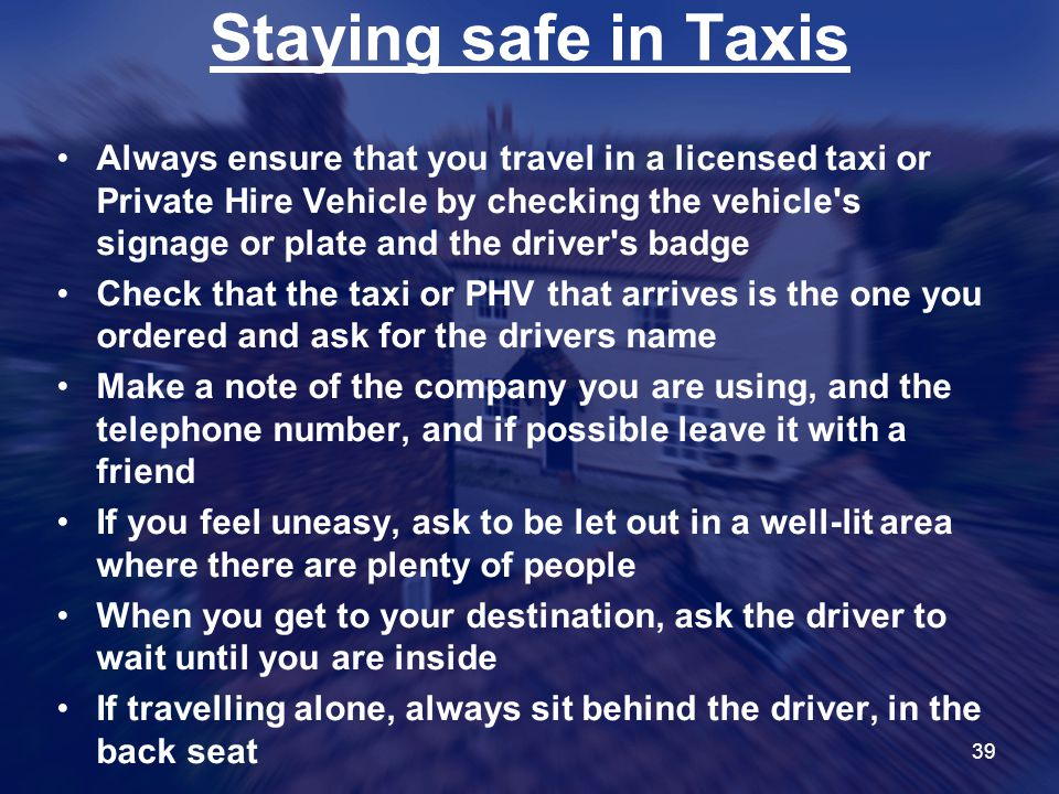Staying safe in Taxis