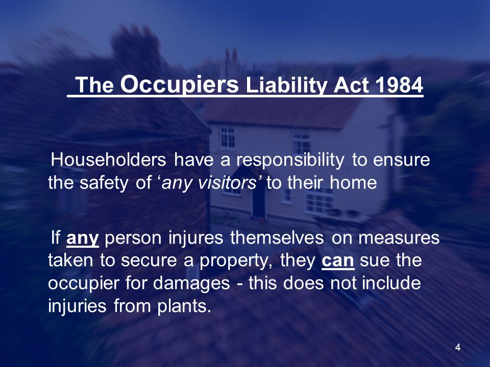The Occupiers Liability Act 1984