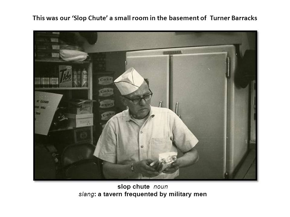 slang: a tavern frequented by military men