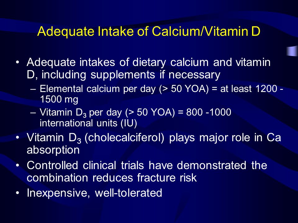 Adequate Intake of Calcium/Vitamin D