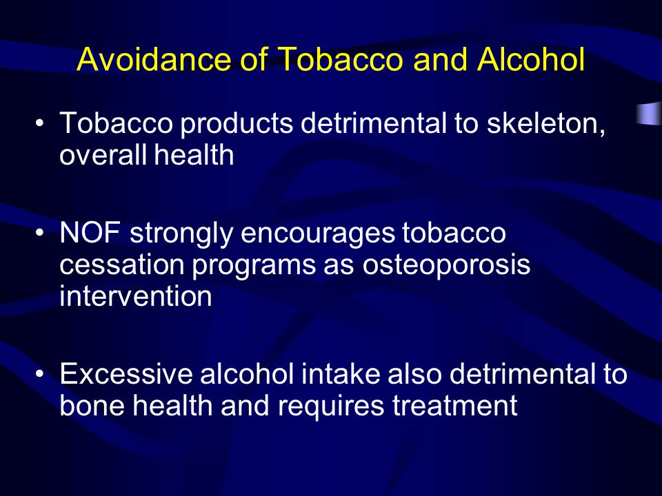 Avoidance of Tobacco and Alcohol