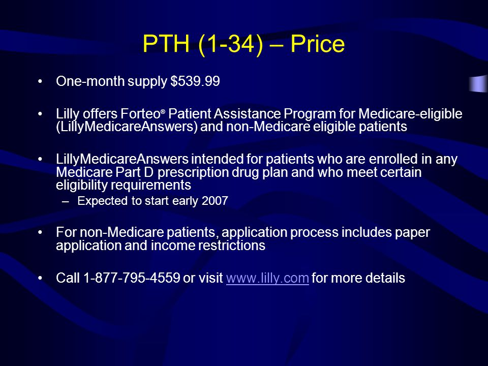 PTH (1-34) – Price One-month supply $539.99