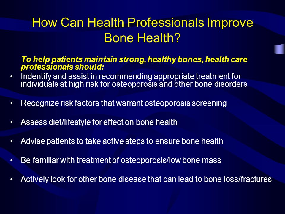 How Can Health Professionals Improve Bone Health