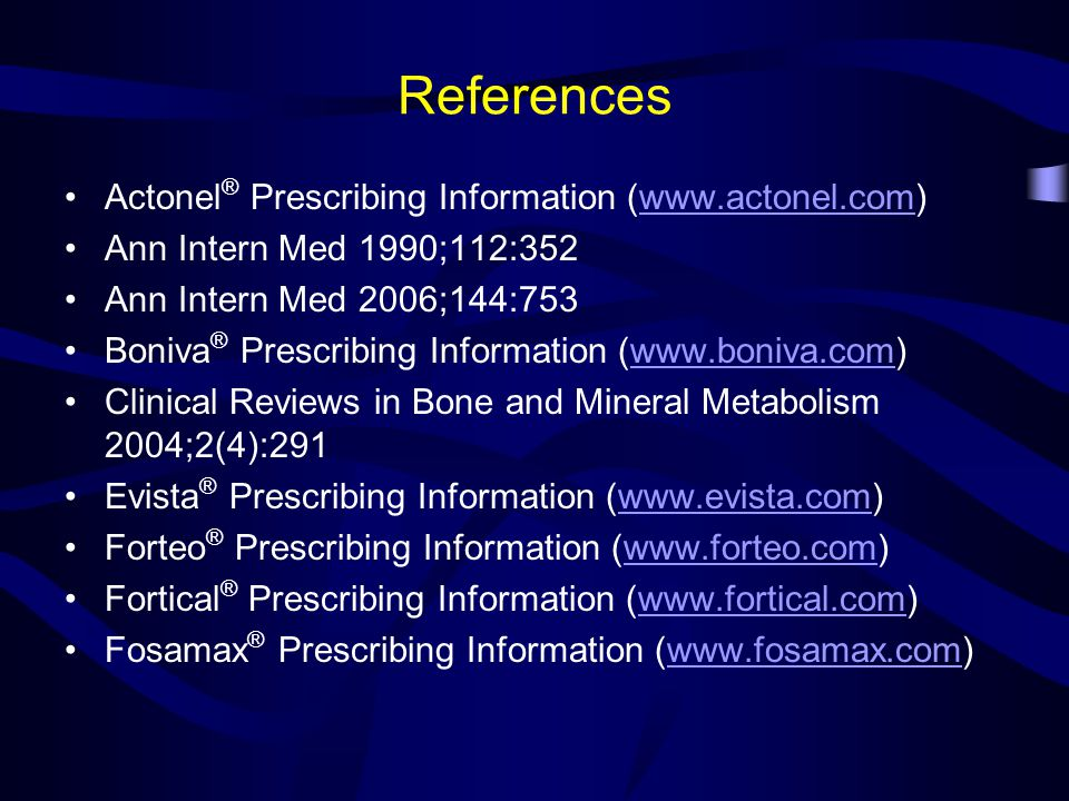References Actonel® Prescribing Information (www.actonel.com)