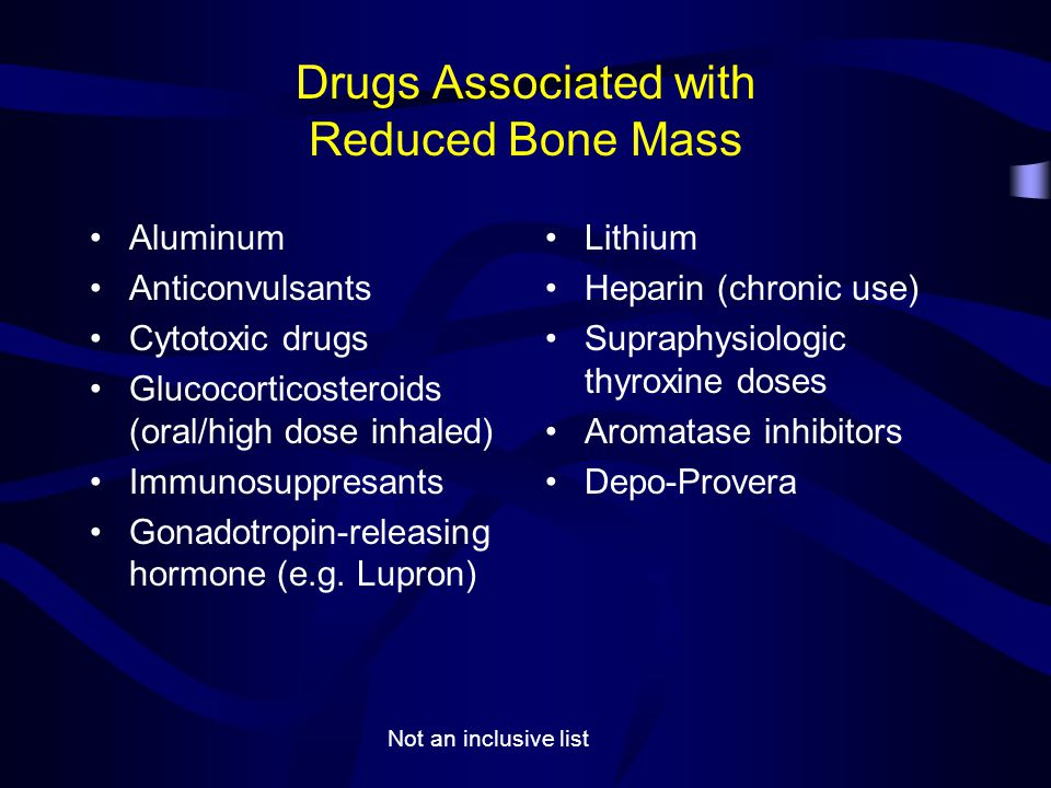 Drugs Associated with Reduced Bone Mass