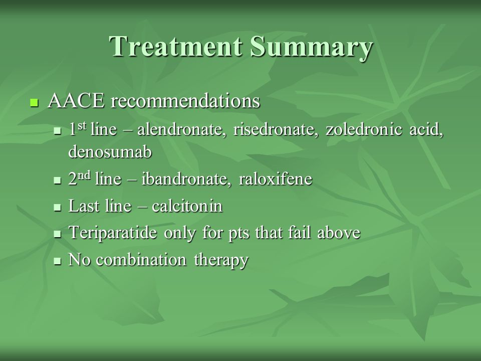 Treatment Summary AACE recommendations