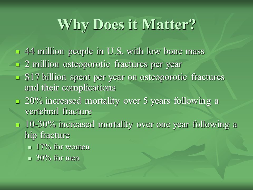 Why Does it Matter 44 million people in U.S. with low bone mass